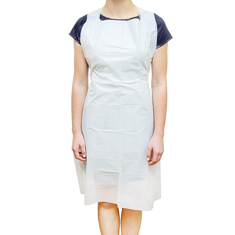 Wholesale Price Lightweight Breathable White PE Aprons 28 x 46 inches 2 Mil Disposable Polyethylene Aprons