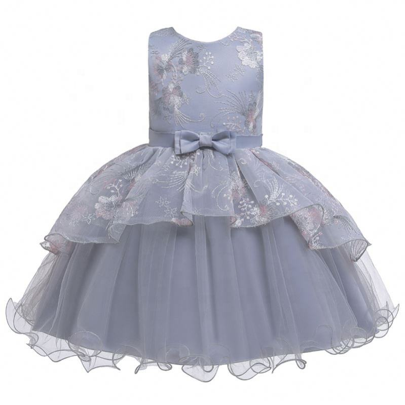 Summer Girls Party Dresses For Embroidery Design Children Clothing
