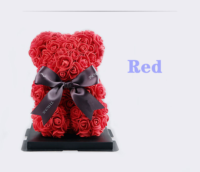 New Design Valentine Gifts Day Artificial Love Heart Red Rose Bear 40CM With Box