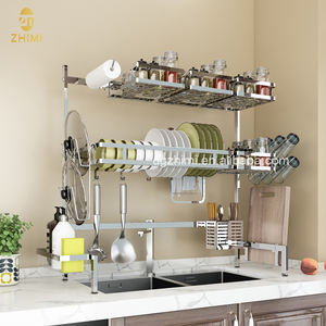 Stainless Steel Kitchen Utensils Display Storage Over Sink Dish Drying Rack Spice Organizer Towel Holder Cup Glass Shelf