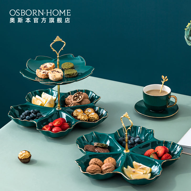 OSBORN European 2 tier layer ceramics fruit plate serving tray cake stand cupcake rack sets for wedding dessert displays party