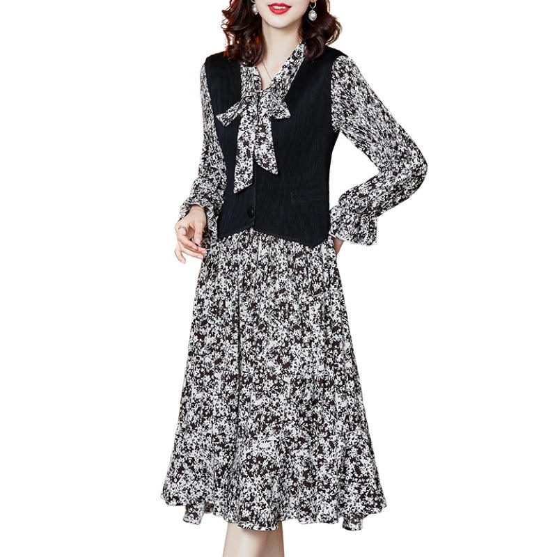 2021 spring 2 piece set women floral A-line dress printed pleated skirt sets