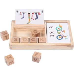 Wood Spelling Words Game Kids Early Educational Toys for Children Learning Wooden Toys Montessori Education Toy