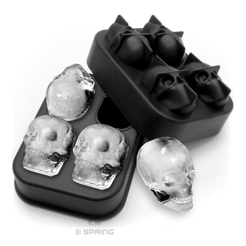 One-Stop Service [ Silicone Ice ] Silicon Tray Custom 4 Grid Giant 3D Skull Flexible Silicone Skull Ice Cube Tray Mold With Lid Ice Cubes Silicone Mold Skull
