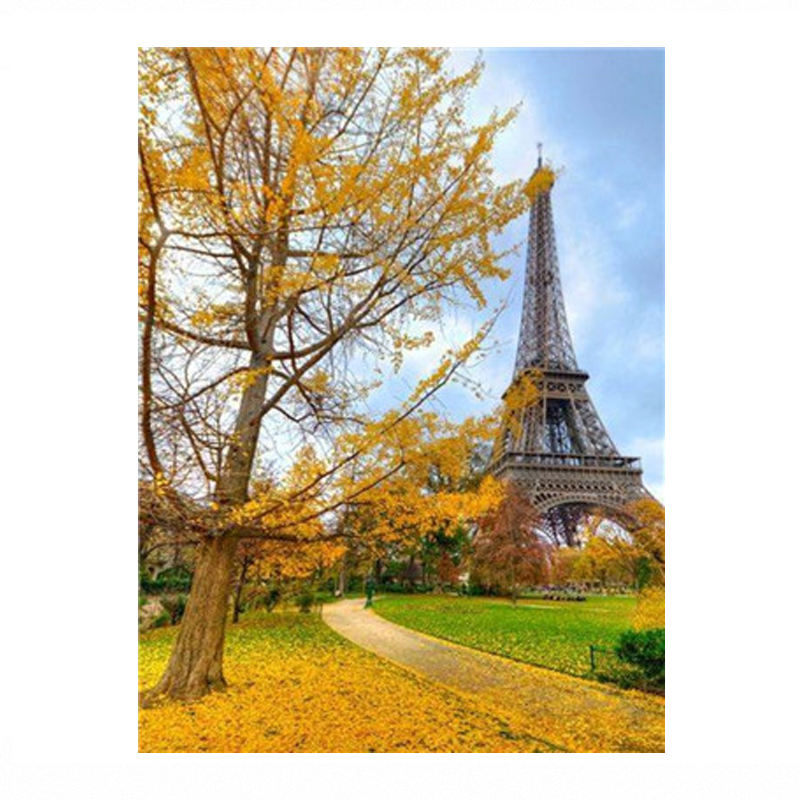 Hot Sale With Frame Eiffel Tower Oil Canvas Painting By Numbers Kits For Kids