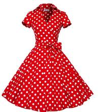 2019 Women Elegant Polka Dot Big Swing Dress 50s 60s Vintage Pinup Rockabilly Office Lady Dresses With Bowknot Belts A225