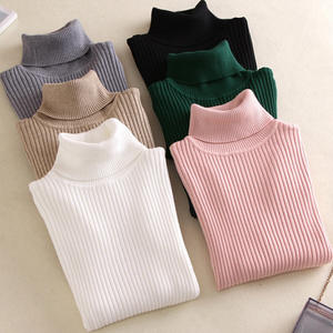 2019 Autumn Sweaters Female Women's Turtleneck Sweater Knitted Ribbed Pullover Winter High Elasticity Slim Jumper