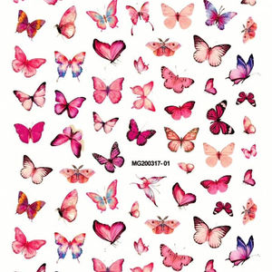 20 designs Manicure Japanese Colorful Butterfly Adhesive Nail Art Sticker