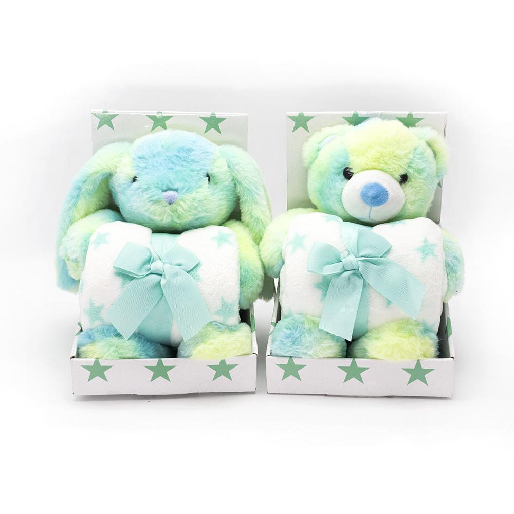 Stuffed soft cartoon bear plush toy rabbit toy with baby blanket