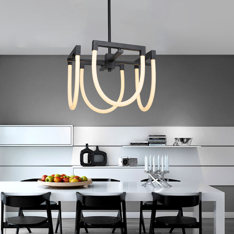 Hot sale creative style living room hanging black nordic modern led chandelier pendant light