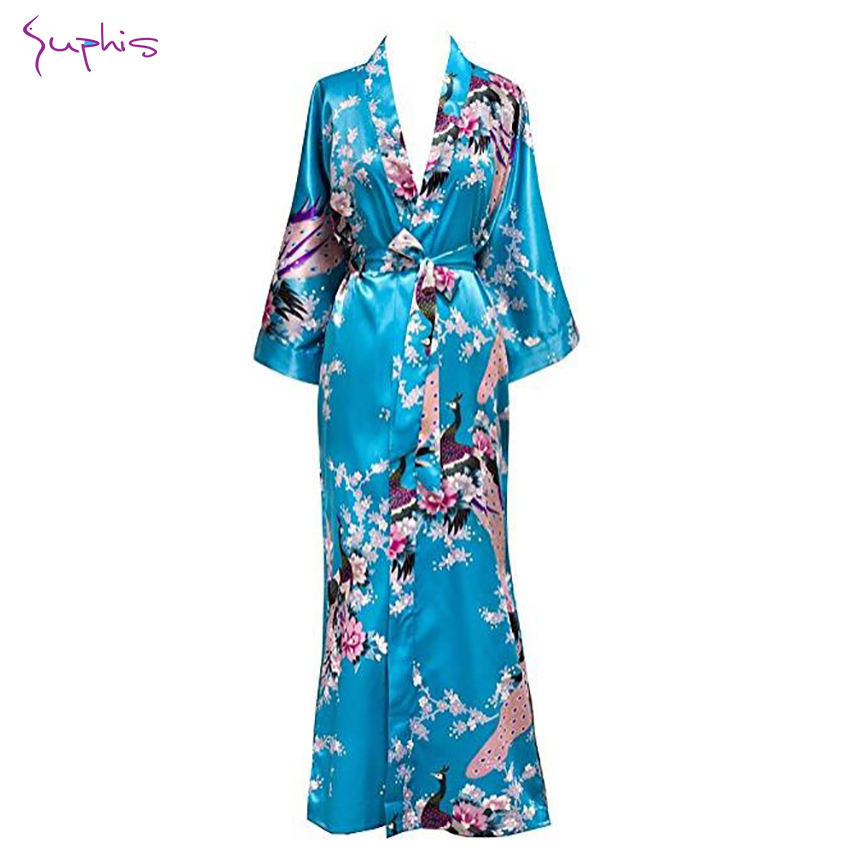 Womens Plus Size Robes Kimono Floral Peacock Satin Silk Bridesmaid 3//4 Sleeve Bathrobe