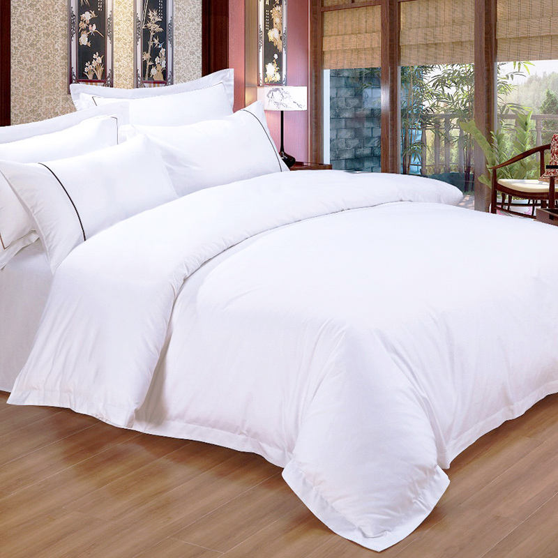 300TC Plain White Satin Weave Stof 100% Katoen 5 Star Hotel Textiel Bed Linnen