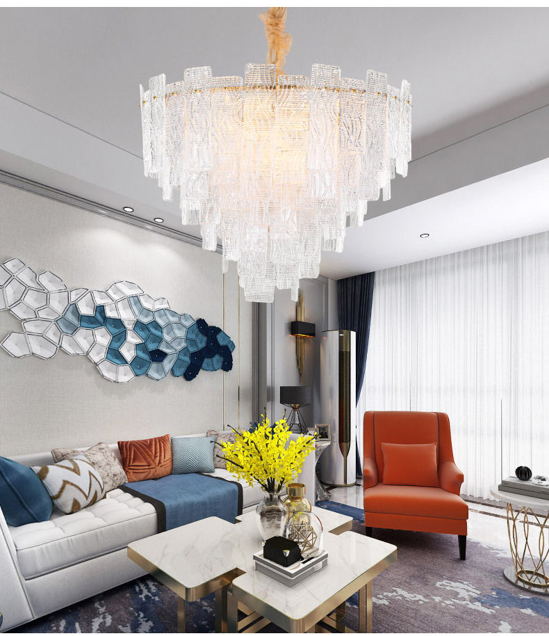 Italian post modern art luxury style crystal glass chandelier light for exhibition hall living room club