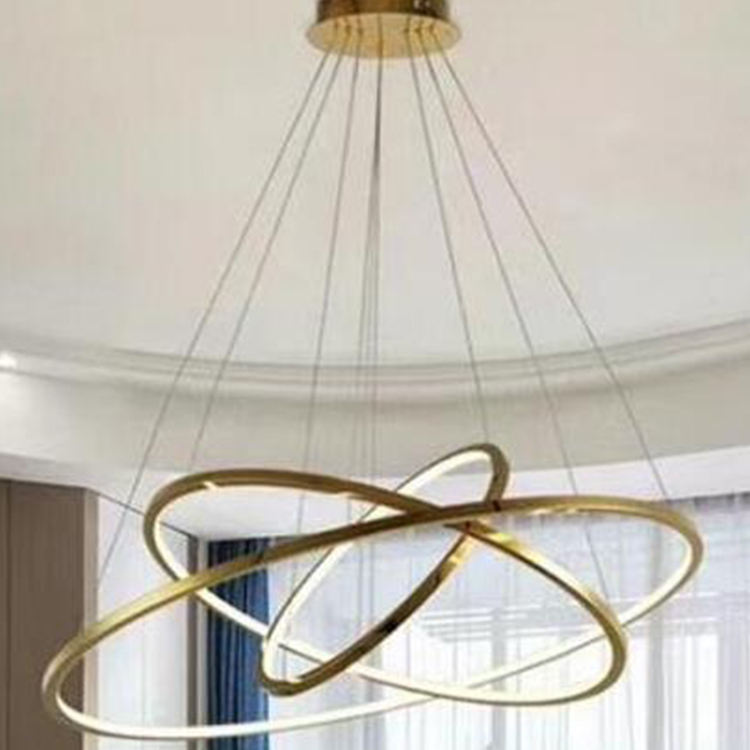 New modern dimmable indoor halo acrylic material round classic 3 circles ring led chandelier lights for living room