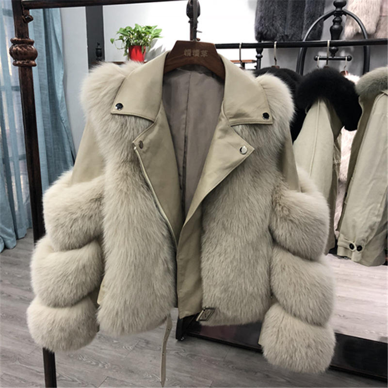 fake fox fur rope winter jackets women coats leather fur jacket