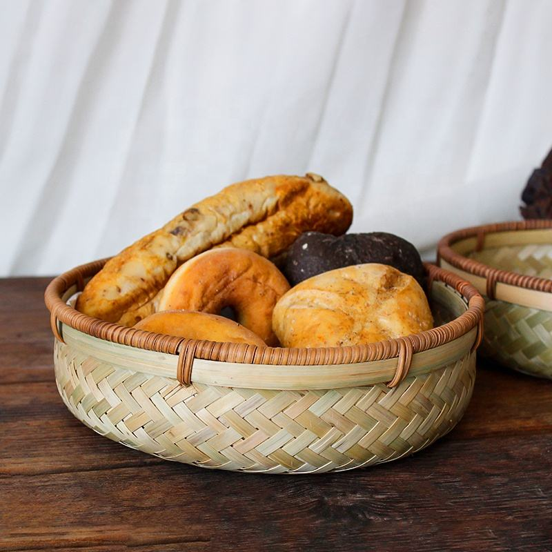 Chinese Rustic stackable basket food round woven bamboo wicker basket for home kitchen storage rattan wooden fruit weaved basket