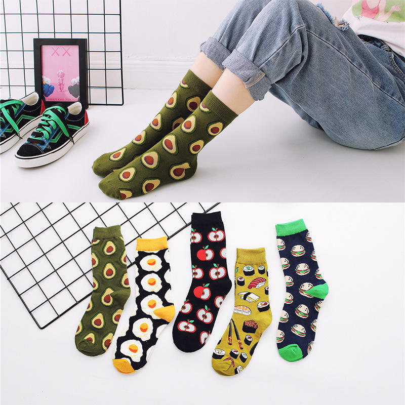 Women Girl Food Sweetmeats Dress Crew Socks Combed Cotton Fashion Spring Autumn Winter Breathable For Woman
