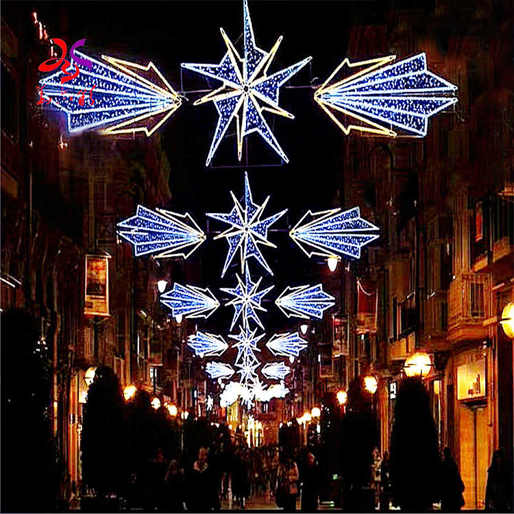 LED snowflake hanging street across arch motif lights for outdoor Christmas decorations