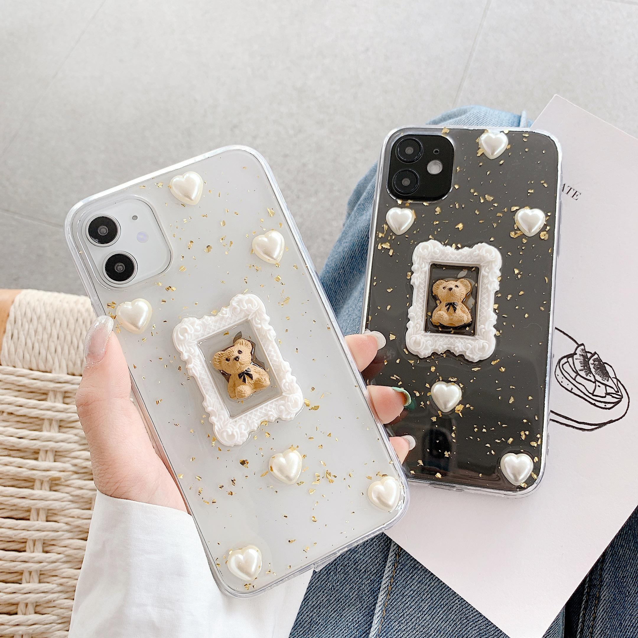 Skid-Proof Anti-Shock Lucu Kartun <span class=keywords><strong>Beruang</strong></span> Tetes Lem Matte Phone Case untuk iPhone 6/7/8/X/X/XR/XS <span class=keywords><strong>MAX</strong></span>