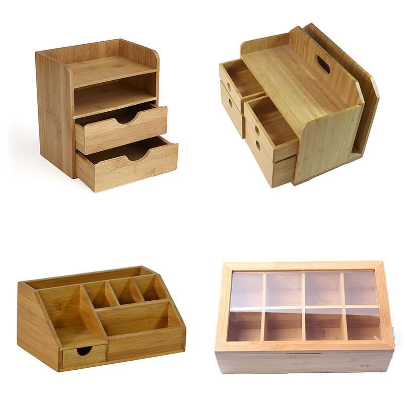 Whosale custom logo eco friendly natural bamboo storage tea box packing