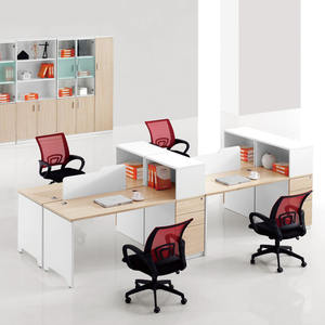 Commercial office furniture wood+tables fancy 4 people workstation