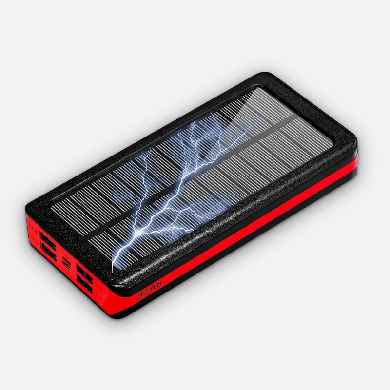 4 port cargador solar powerbank 30000mah fast charge led light solar power banks charger 30000 mah power bank solar