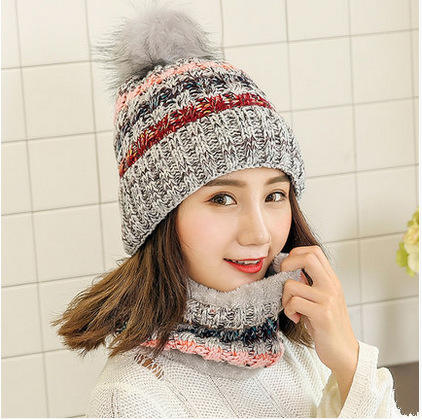 Hot sale new style warm winter girl women pom pom hat and scarf set