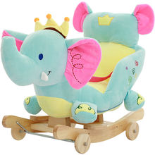 Factory audit soft rocking chair blue elephant stuffed animal baby ride on toy