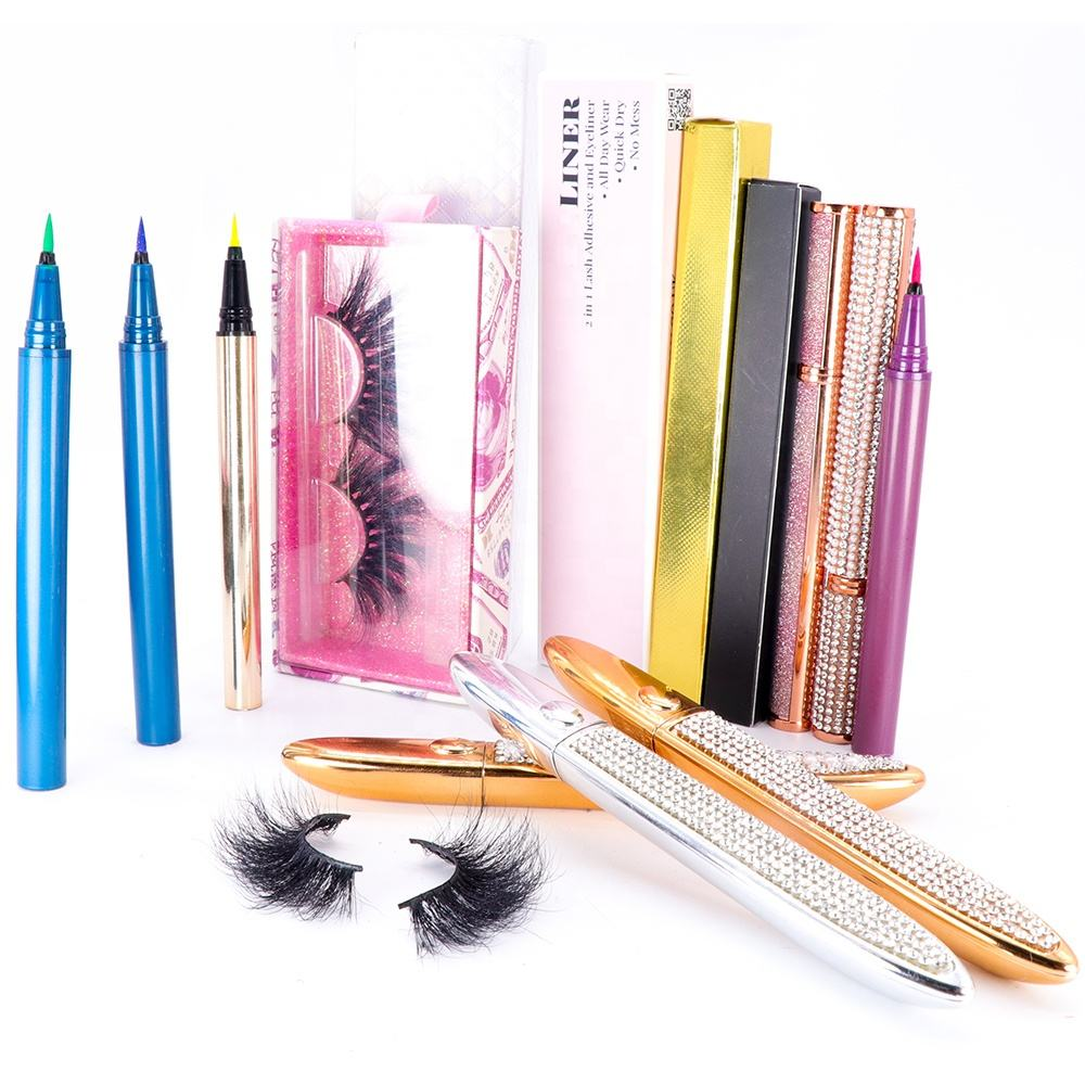 Wholesale liquid eyeliner tubes Private Label Magic Lash Pen bling Adhesive Eyeliner lash glue cake eyeliner