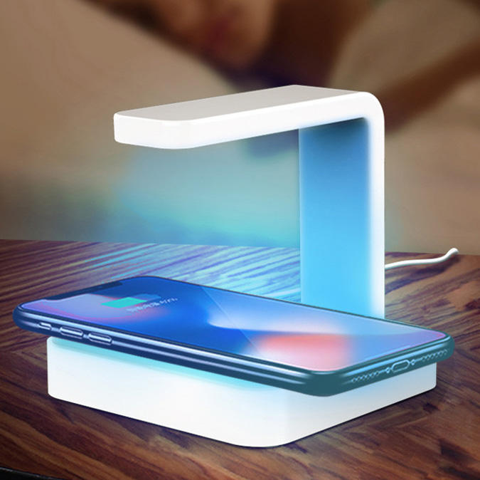 2020 Hot UV C Sanitizer Wireless Charger Lamp, 10W Qi fast CE/ROHS/FCC Certificated Wireless Charger for Phone Sterilizer