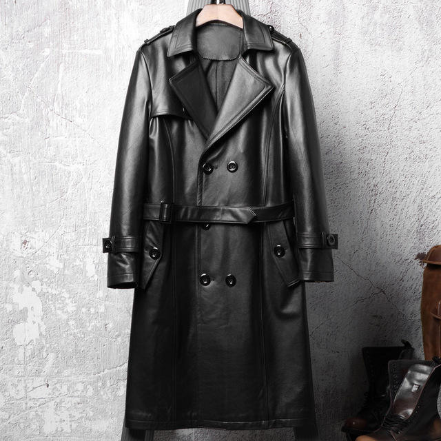 Black Genuine Cowhide Leather Coat For Men Genuine Leather Casual Fashion Coat