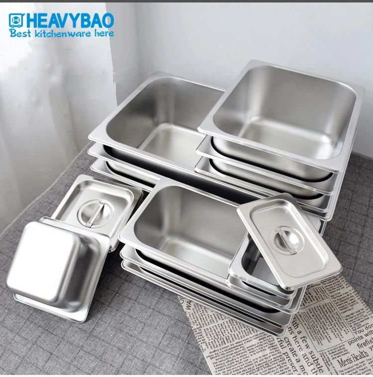 Heavybao High Quality Stainless Steel 3/2 Standard Food Pans Gastronorm Food Container GN Pan