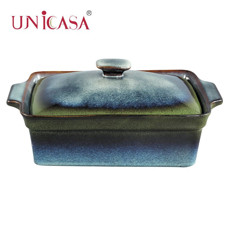 UNICASA Ceramic Gradient Reactive Rect. Casserole Set with lid Y09-010