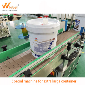 Big round plastic bottles container cans barrel sticker automatic labeling machine