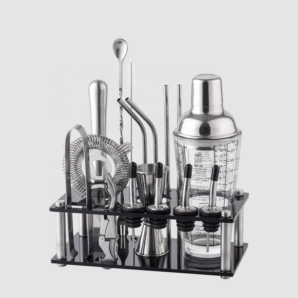 Factory Direct 400ml coated stainless steel bar tools glass bartender cocktail shaker bar tools set with acrylic frame stand