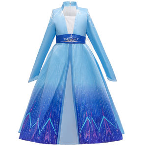 Hot Selling Kids Sequins Long Sleeve Frock Girls Princess Elsa Frozen Dress With Cloak