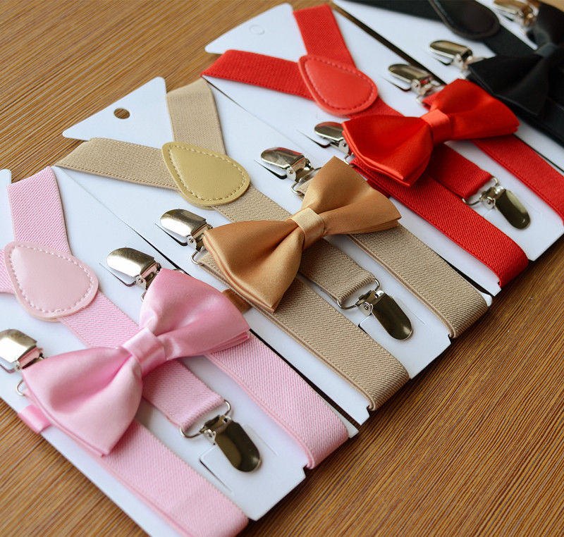 Wholesale Kids Braces Bowtie Sets Adjustable Suspenders and Bow Tie Gift For Boys Girls