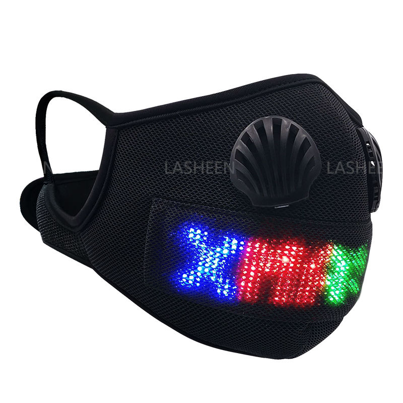 Halloween Mask Customized Fashion Sport Mask Light Up Party Facemask App Controlled LED Programmable Message Displayed For Christmas Halloween