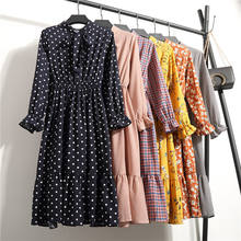 Women Casual Spring Dress Lady Korean Style Vintage Floral Printed Chiffon Shirt Dress Winter Long Sleeve Bow Midi Dress Vestido