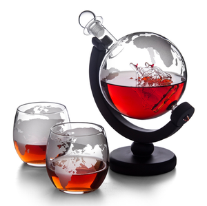 850ml 1000ml Whiskey Decanter Set World Etched Globe With 2 World Map Glasses For Wine Glass Set