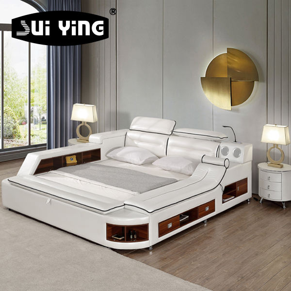 luxury modern bedroom furniture massage double bed design with storage A635