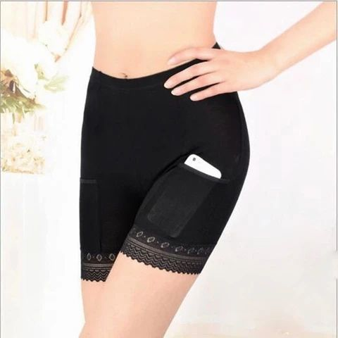 Lace Seamless Short Pants for women Long leg Briefs Summer Under Skirt Safety Panties With Pocket