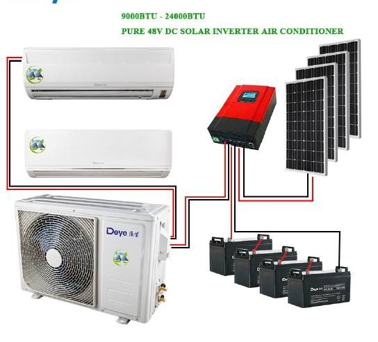 Best quality 48V DC off grid solar powered air conditioner 9000btu 12000btu 18000btu 24000btu split air conditioner