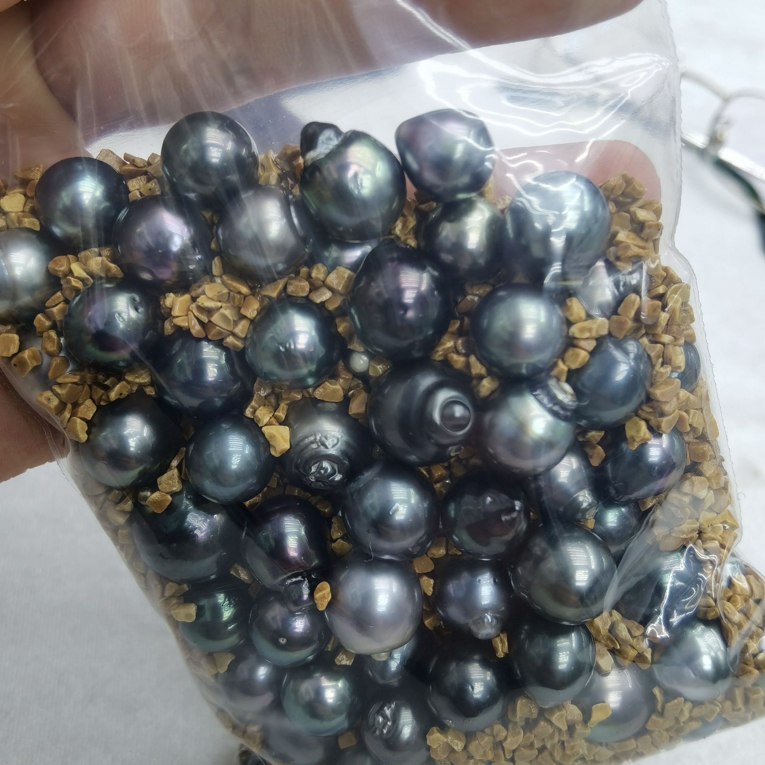 wholesale loose 10-15mm natural grey black drop water baroque shape seawater Tahitian pearl with cheap price DIY