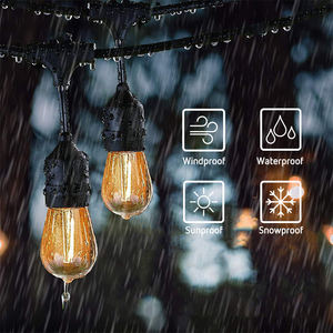 Outdoors String Lights 48FT RGB LED String Lights Waterproof with Commercial Grade Patio Light
