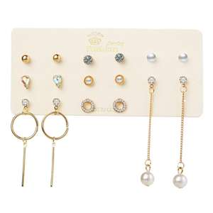 VRIUA High Level Silver Gold Stud Earring Set Lots Styles Rhinestone imitation Pearl Round Metal Mix Stock Earrings For Women