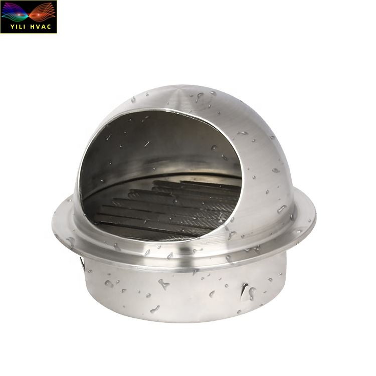 Round Bull Nosed Stainless Steel Wall Air Vent With Insectscreen