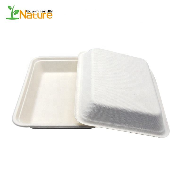 Plateau biodégradable de canne à sucre de Bagasse Compostable 1000ML jetable chaude