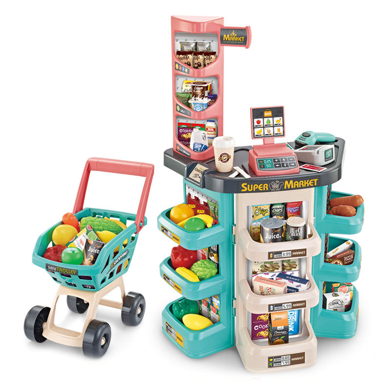 Educational role super market pretend cashier toy play set with mini trolley