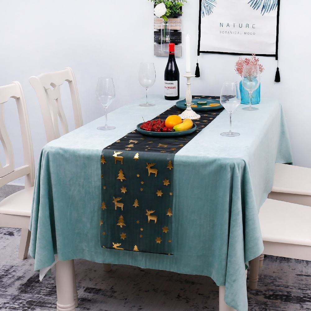 Crystal organza with bronzed Christmas Deer design table runner table cover table decoration